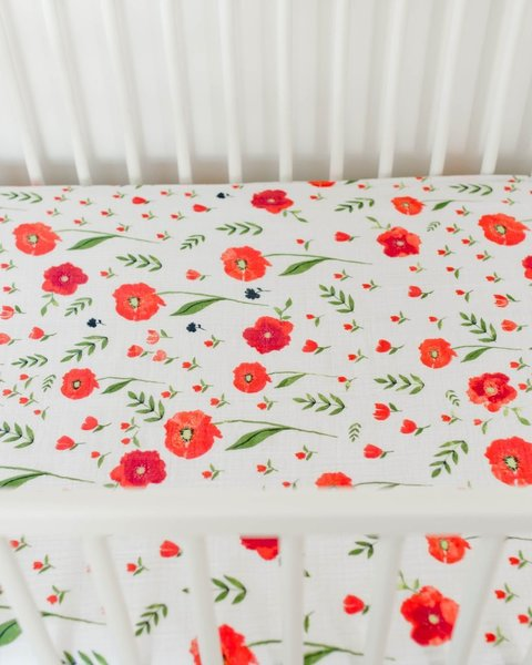 View larger image of Cotton Muslin Crib Sheet - Summer Poppy