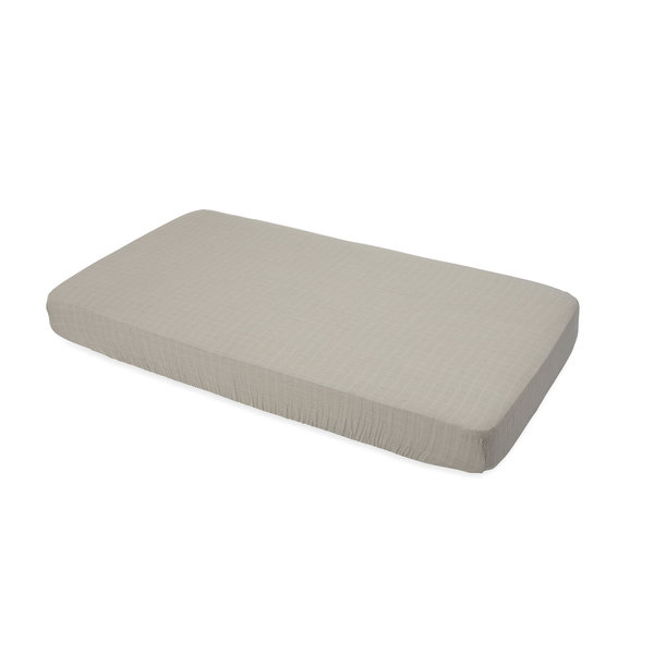 View larger image of Cotton Muslin Crib Sheet - Warm Grey