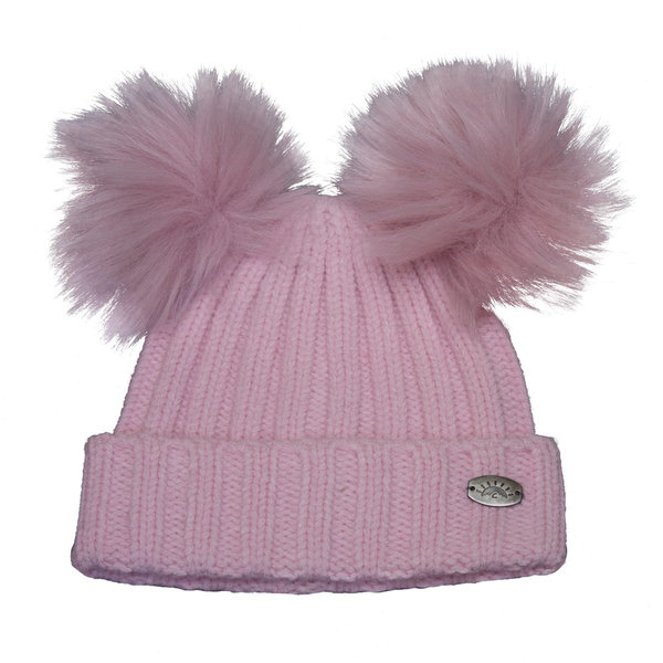 View larger image of Dbl Pom Knit Hat-Pink-S