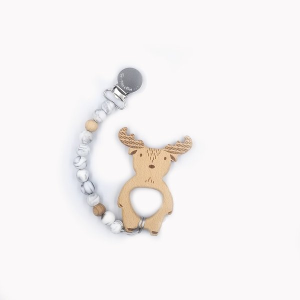 View larger image of Duo Pacifier Clip/Moose-Marble