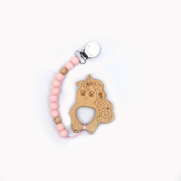View larger image of Duo Pacifier Clip/Unicorn-Pink