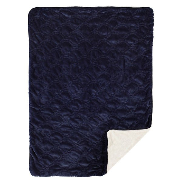 View larger image of Embroidered Velour Blanket Navy Scallop