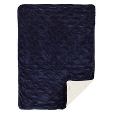 Embroidered Velour Blanket Navy Scallop