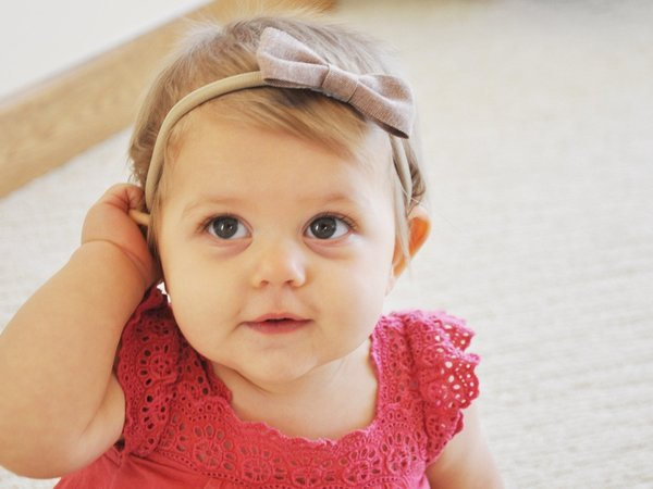 View larger image of Fabric Bow Headbands - Blue & Pink