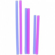 Silicone Family of Straws - 6 Pack - Pink/Blue