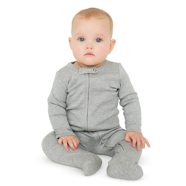 View larger image of Zipper Long Sleeve Footie 2 Pack - Ivory & Charcoal