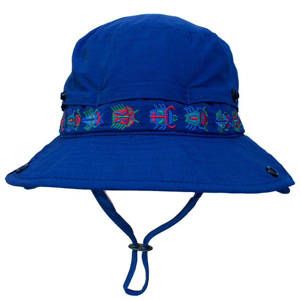 View larger image of Flip Up Visor Sun Hat - Navy Peony