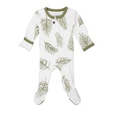 Organic Zipper Footie - Sage Palm