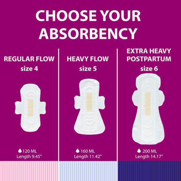 View larger image of  Extra Heavy Overnight/Postpartum Pads - 6 Pack