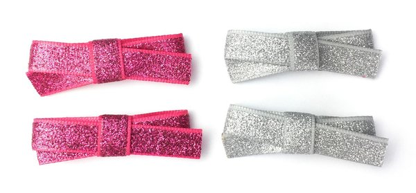 View larger image of 4 Small Snap Glitter Hand Tied Bows - Grey/Pink