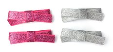 4 Small Snap Glitter Hand Tied Bows - Grey/Pink