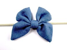 Headband-Denim Butterfly 3m+