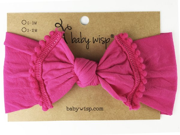 View larger image of Nylon Pom Pom Trim Headband - Dark Pink