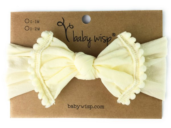 View larger image of Nylon Pom Pom Trim Headband - Ivory