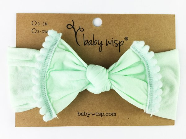 View larger image of Nylon Pom Pom Trim Headband - Mint