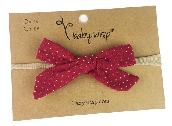 View larger image of Infant Hand Tied Fabric Bow Headband - Starlite - Burgundy