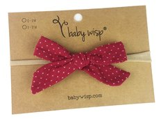 Infant Hand Tied Fabric Bow Headband - Starlite - Burgundy