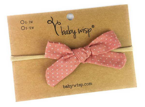 View larger image of Infant Hand Tied Fabric Bow Headband - Starlite - Dusty Rose