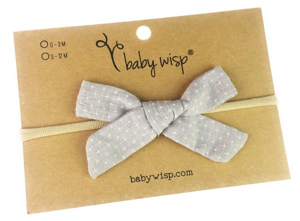 View larger image of Infant Hand Tied Fabric Bow Headband - Starlite - Grey