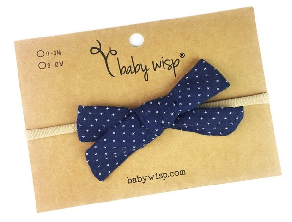 View larger image of Infant Hand Tied Fabric Bow Headband - Starlite - Navy