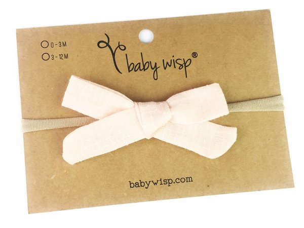 View larger image of Infant Hand Tied Fabric Bow Headband - Starlite - Pale Peach