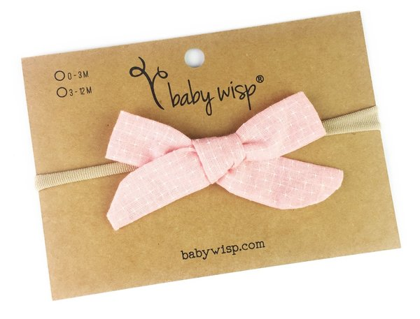 View larger image of Infant Hand Tied Fabric Bow Headband - Starlite - Pink