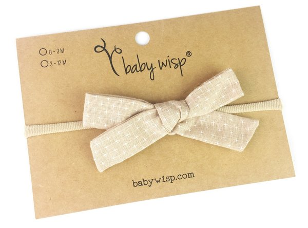 View larger image of Infant Hand Tied Fabric Bow Headband - Starlite - Tan