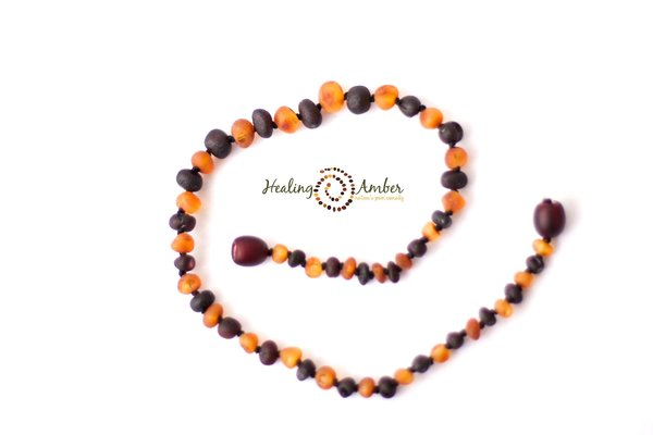 "View larger image of 13"" Amber Teething Necklace - Raw Duo Dark"