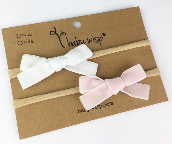 View larger image of Infant Headband 2-pk With Velvet Bows - White/Pink