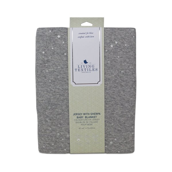 View larger image of Jersey with Sherpa Baby Blanket - Grey Stars