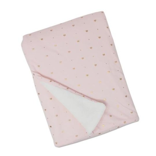 View larger image of Jersey with Sherpa Baby Blanket - Pink Hearts