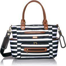 Caprice Diaper Bag - Black/White Stripes