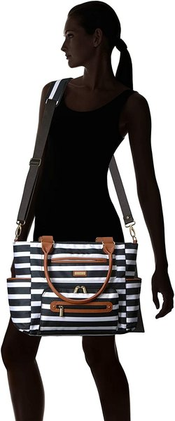 View larger image of Caprice Diaper Bag - Black/White Stripes