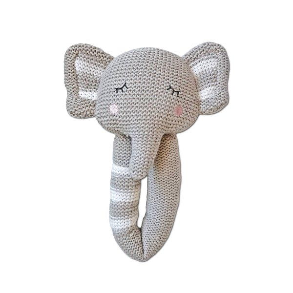View larger image of Knit Rattle - Theodore Elephant