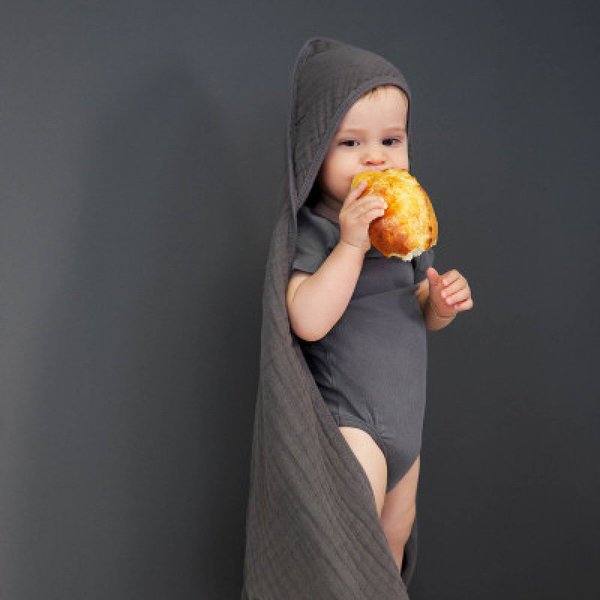 View larger image of Muslin Hooded Towel - Anthracite