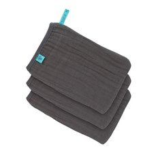 Muslin Wash Gloves 3pcs - Anthracite