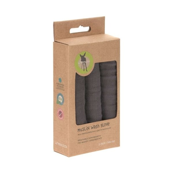 View larger image of Muslin Wash Gloves 3pcs - Anthracite