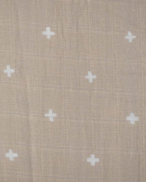 View larger image of Muslin Crib Sheet - Taupe Cross