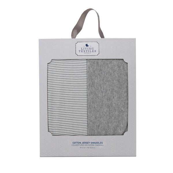 View larger image of 2pk Swaddle Blankets - Grey Marl + Grey Heathered Stripe