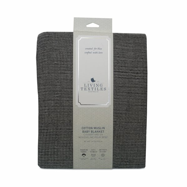 View larger image of Muslin Textured Blanket - Grey