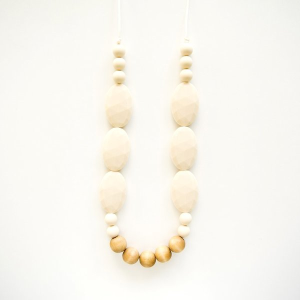 View larger image of Petunia Wood and Silicone Teething Necklace - Beige
