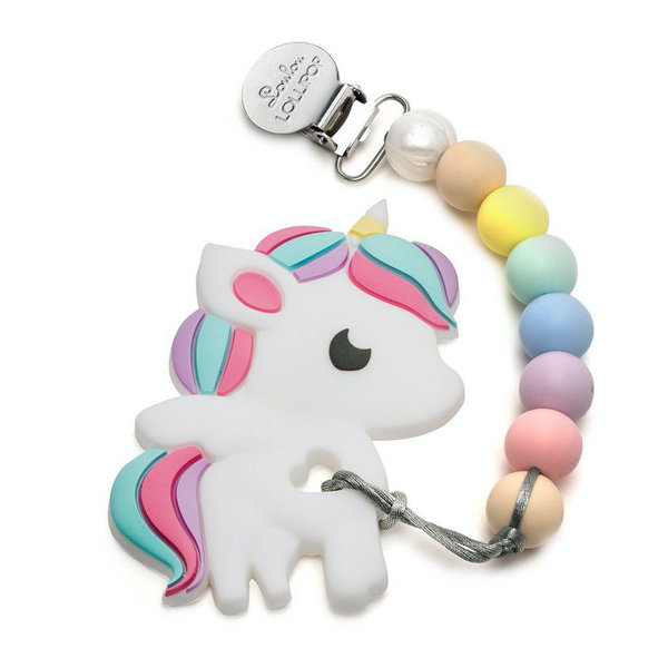 View larger image of Rainbow Unicorn Silicone Teether Holder Set - Cotton Candy