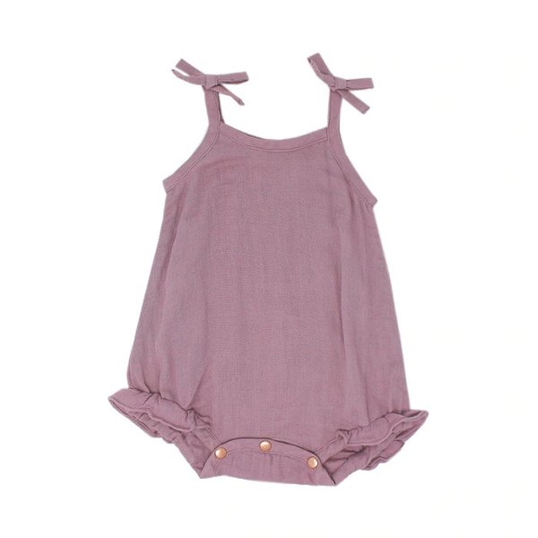 View larger image of Organic Muslin Ruffle Bodysuit - Lavender