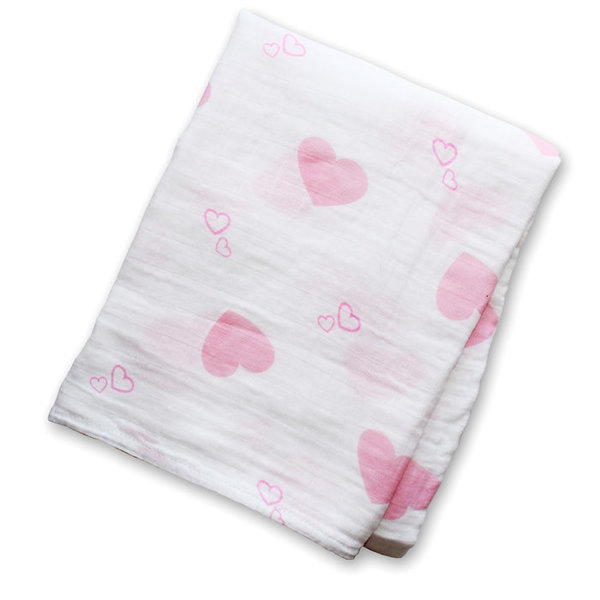 View larger image of Muslin Swaddle - Pink Hearts