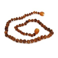 """Baltic Amber Teething Necklace 11"""" - Cognac"""