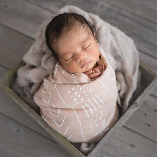 View larger image of Luxe Muslin Swaddle - Mudcloth Pink