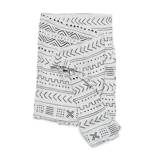View larger image of Luxe Muslin Swaddle - Mudcloth White