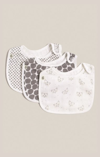 View larger image of Muslin Drool Bibs - Unisex - 3 Pack