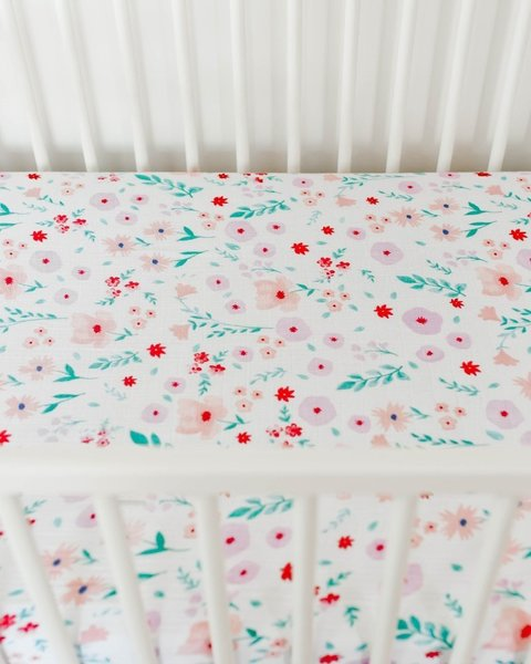 View larger image of Cotton Muslin Crib Sheet - Morning Glory