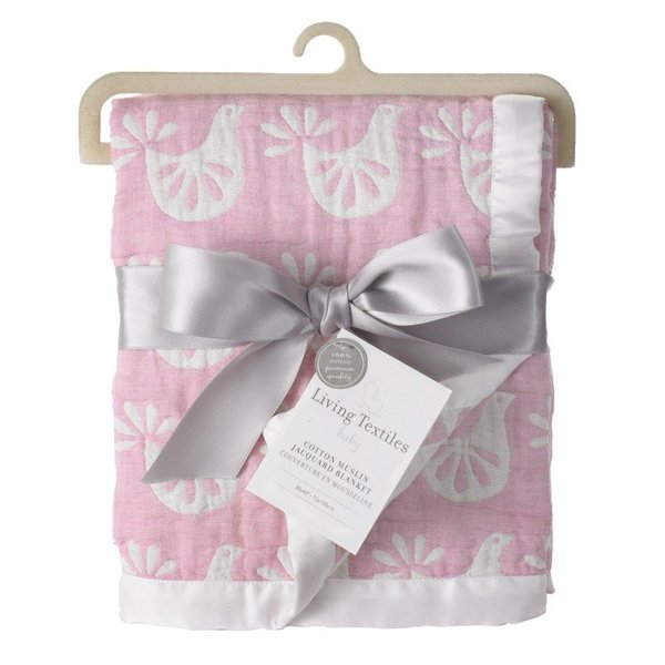 View larger image of Muslin Jacq Blanket-Pink Bird